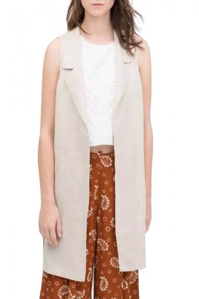 Plain Notched Lapel Sleeveless Tunic Vest