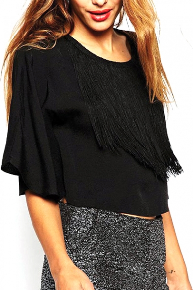 Black Crop 3/4 Sleeve Round Neck Top with Tassel