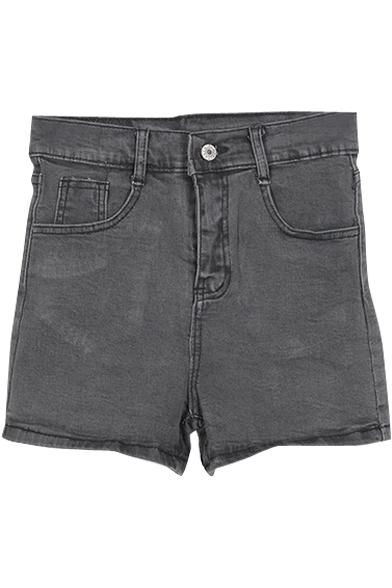 Black Elastic High Waist Denim Shorts