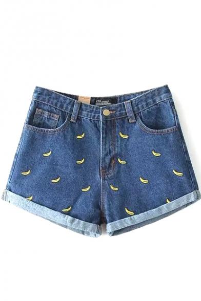 Dark Blue Embroidered Banana Cuffed Denim Shorts - Beautifulhalo.com