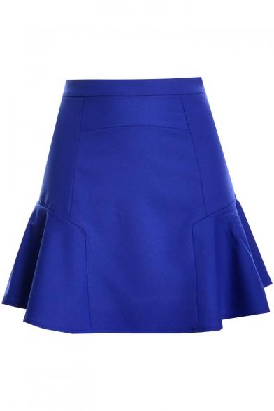 Plain High Waist Mini Peplum Skirt
