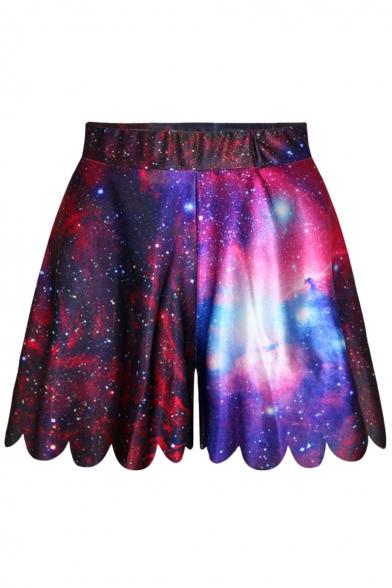 Purple Elastic Waist Wide Leg Galaxy Print Shorts