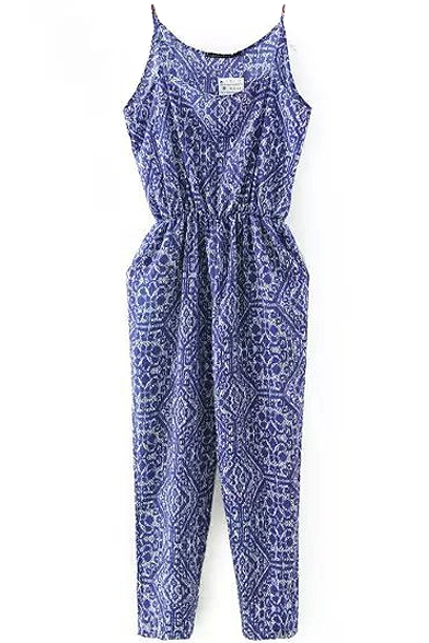 Purple Tribal Pattern Print Jumpsuit