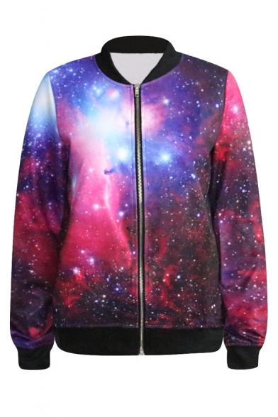 Red&Purple Galaxy Print Baseball Jacket