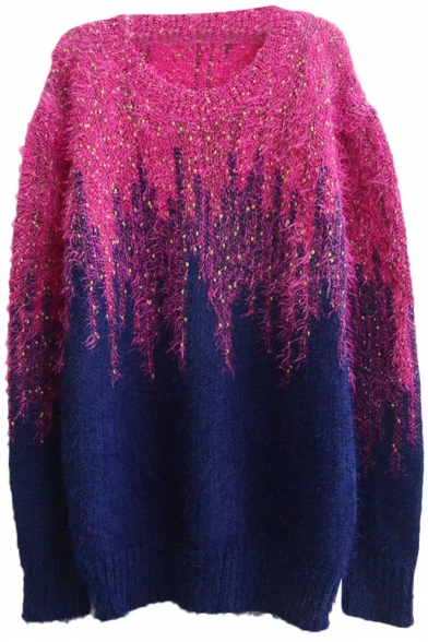 Color Block Omber Gold Thread Insert Long Sleeve Mohair Sweater ...