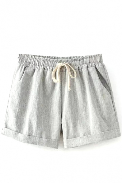 Gray Plain Drawstring Loose Shorts
