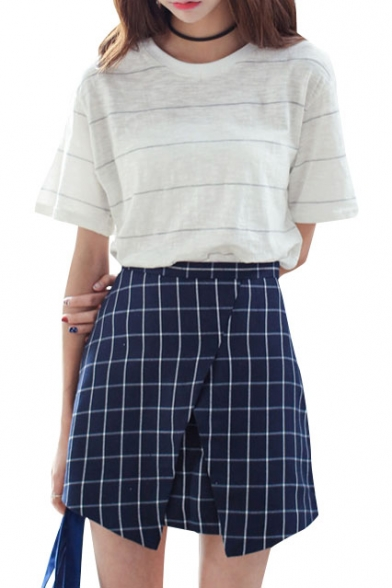 Navy Plaid Print Asymmetrical Hem Skirt