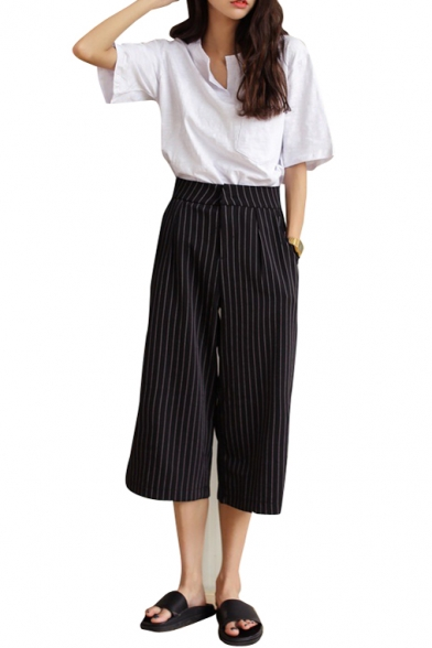 88daf107bf Navy Vertical Stripe Cropped Wide Leg Pants - Beautifulhalo.com