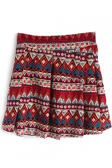 Red Geo-Tribal Pattern Pleated Skirt