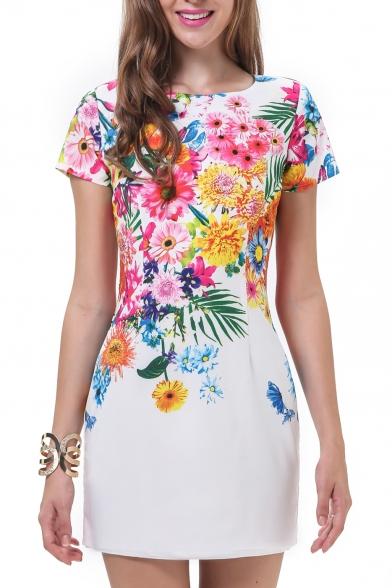 White Flower Print Short Sleeve Fitted Dress