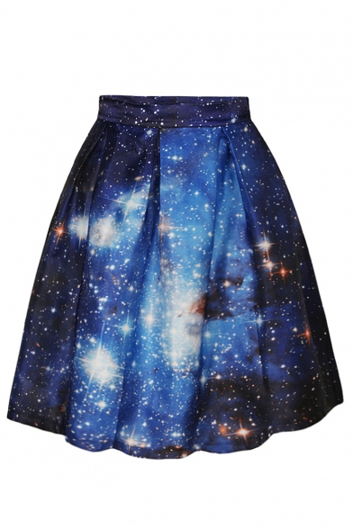 Blue Galaxy Print Flare A-Line Skirt - Beautifulhalo.com