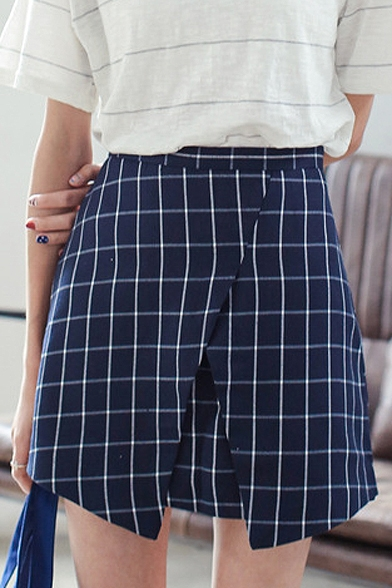 Checker Pattern Asymmetric Hem Skirt