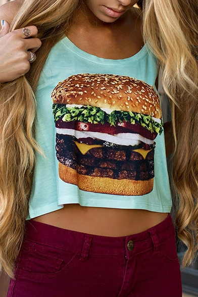 Loose Hamburger Neck Print Crop Tank Round rqtYr