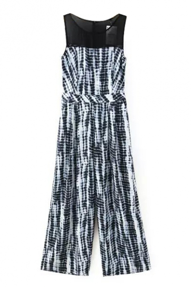 Print Round Neck Sleeveless Chiffon Insert Loose Jumpsuit