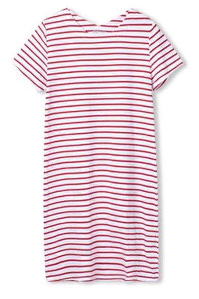 Stripe Short Sleeve Casual T-Shirt Dress