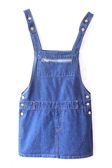 Blue Button Detail Zip Front Vintage Concise Denim Overall Dress