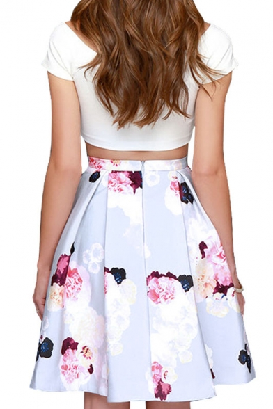 dc3bc9ed77 Crop White T-Shirt with Flower Flare Skirt Co-ords - Beautifulhalo.com
