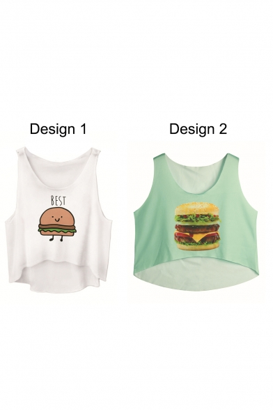 Crop Print Tank Neck Hamburger Round Loose w8qfwzS