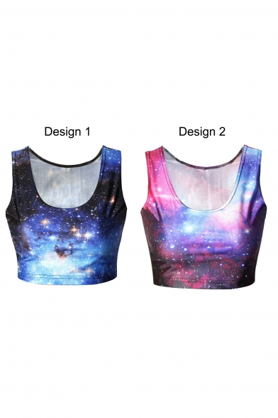 Sleeveless Galaxy Print Scoop Neck Crop Tank