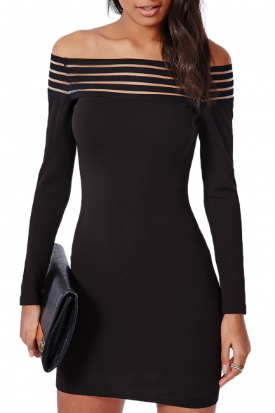 Black Off The Shoulder Stripe Trim Long Sleeve Bodycon Dress