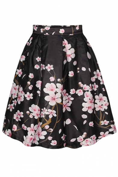Black Peach Blossom Print A-Line Skirt