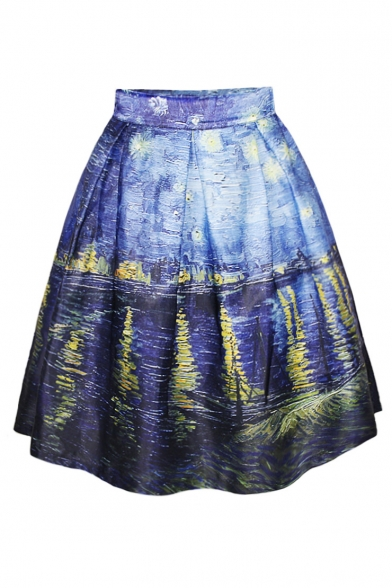 Blue Oil Painting Print Flare A-Line Skirt - Beautifulhalo.com