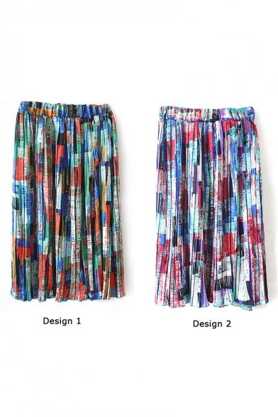 Unique Colorful Square Chiffon Pleated Midi Skirt