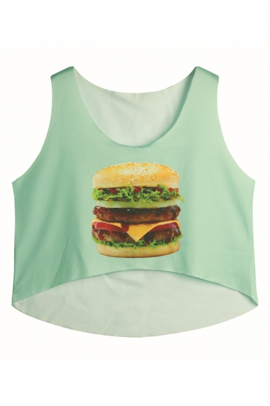 Hamburger Print Round Neck Loose Crop Tank