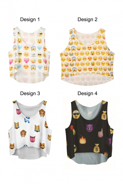White Emoji Expression Print Crop Tank
