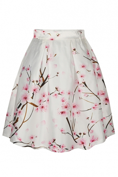 Peach Blossom Print High Waist A-Line Skirt - Beautifulhalo.com