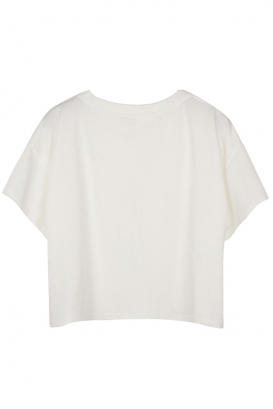 Short Shirt Crop Sleeve White T Print Diagram dwxqT