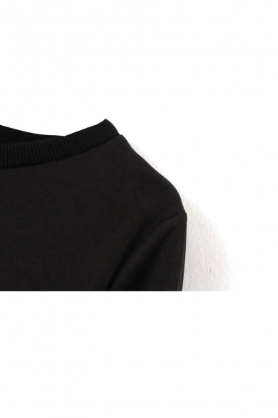 Mono Color Block Round Neck Long Sleeve Sweatshirt
