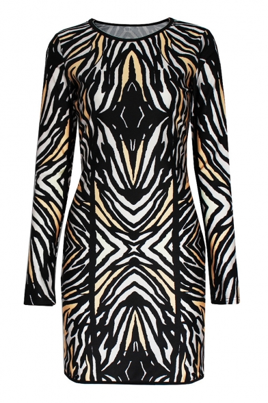 Stripe Print Long Sleeve Round Neck Dress