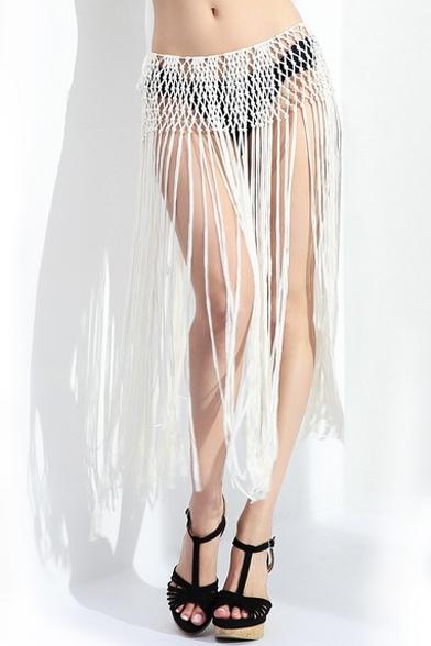cfb9cdbff3eb6 Plain Tassel Crocheted Hollow Beach Cover-up Skirt - Beautifulhalo.com