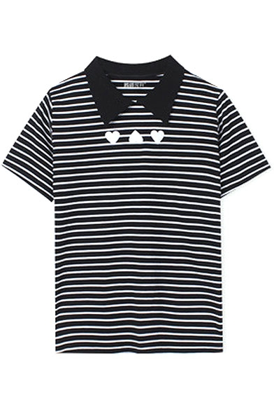 Black Point Lapel Stripe Heart Print T-Shirt