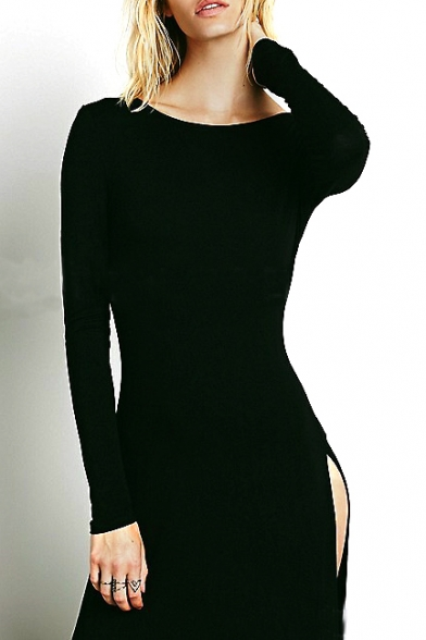 Black Round Neck Long Sleeve Split Maxi T-shirt Dress