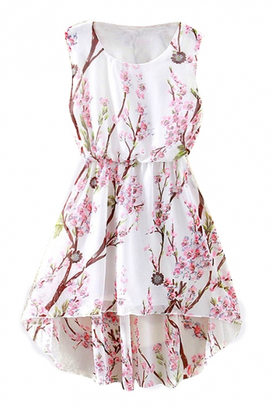 White Dipped Hem Peach Blossom Print Tanks A-line Dress