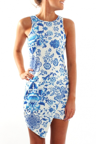Blue Floral Print Sleeveless Wrap Dress - Beautifulhalo.com