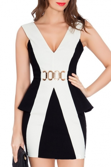 891cc0d2da97b7 Color Block V-Neck Sleeveless Side Peplum Sheath Dress - Beautifulhalo.com