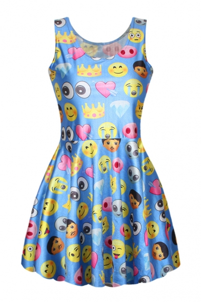 Sleeveless Emoji Expression A-Line Pleated Dress