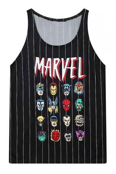 Stripe Marvel Character Print Tanks