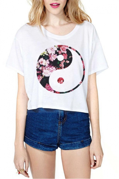 Short T Diagram Shirt Sleeve Crop Print White AZH7qxwpx