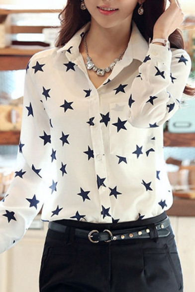 de4bb09d8210 White Long Sleeve Black Star Shirt - Beautifulhalo.com