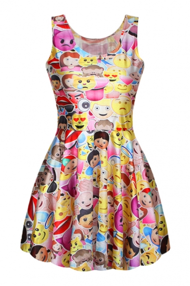 Yellow Sleeveless Emoji Expression Print Dress