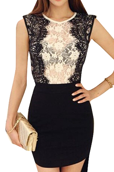 Black Eyelash Lace Side Sleeveless Blouse