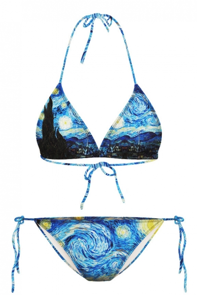 Starry Night Painting Print Halter Bikini Set