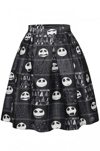 Black Skull Print Tie Dye A-Line Midi Skirt