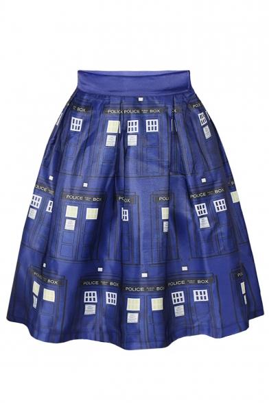 Blue Police Office Print Elastic Waist A-Line Skirt ...