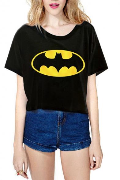 Black Cartoon Character Animal Print Crop T Shirt