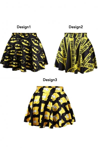 Fashionable Themed Print High Waist Pleated Mini Skirt